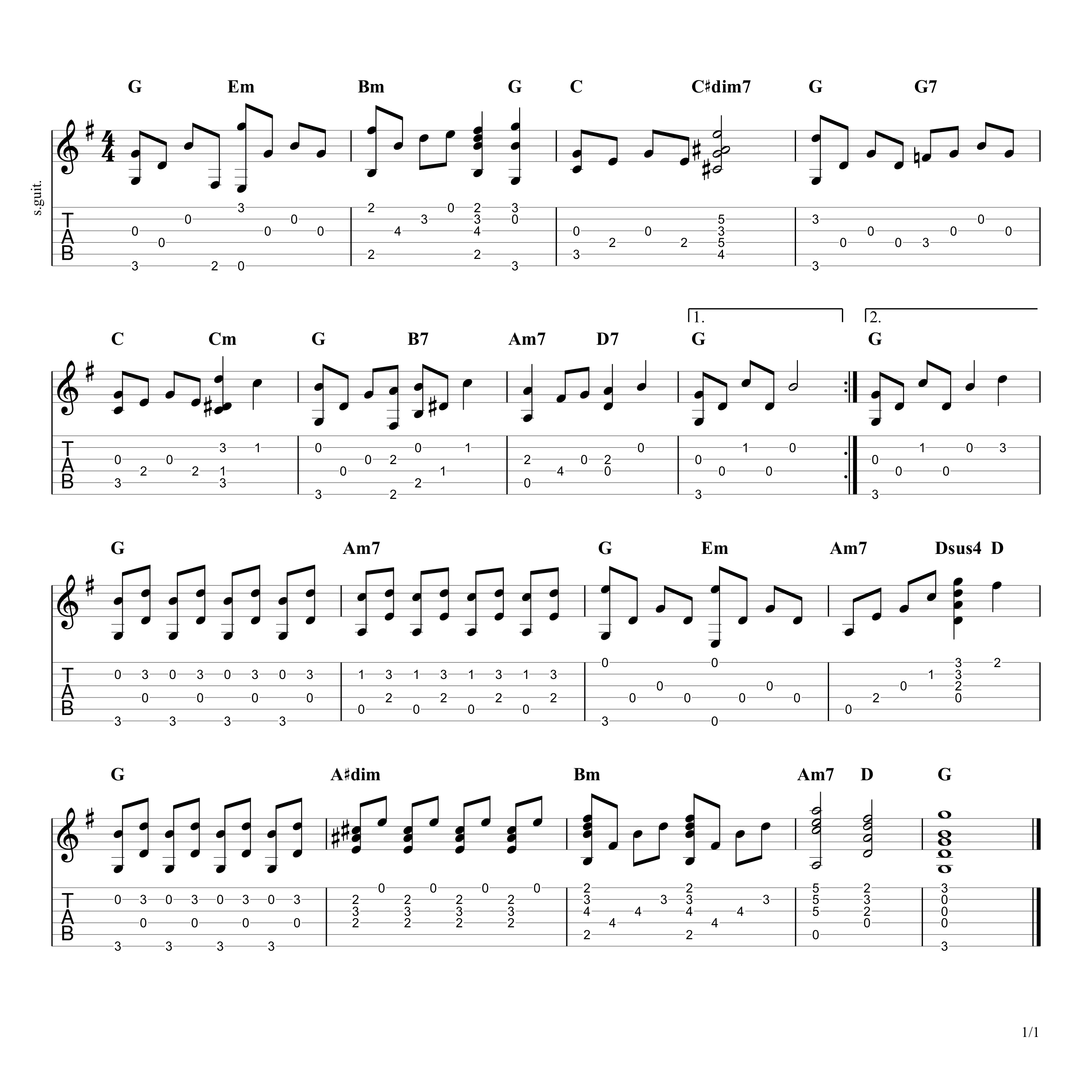 Somewhere Over The Rainbow guitar tab