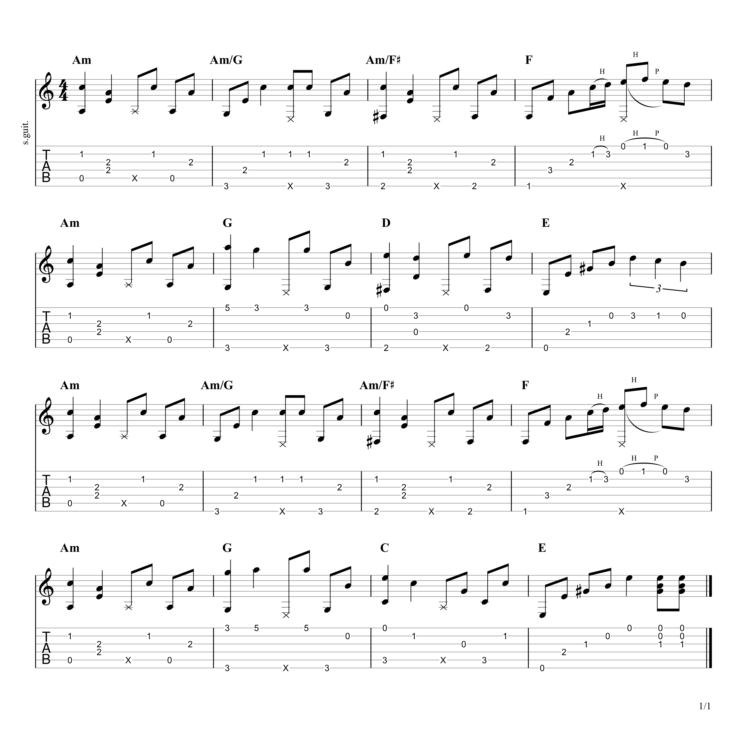 While My Guitar Gently Weeps (Bridge) Tab