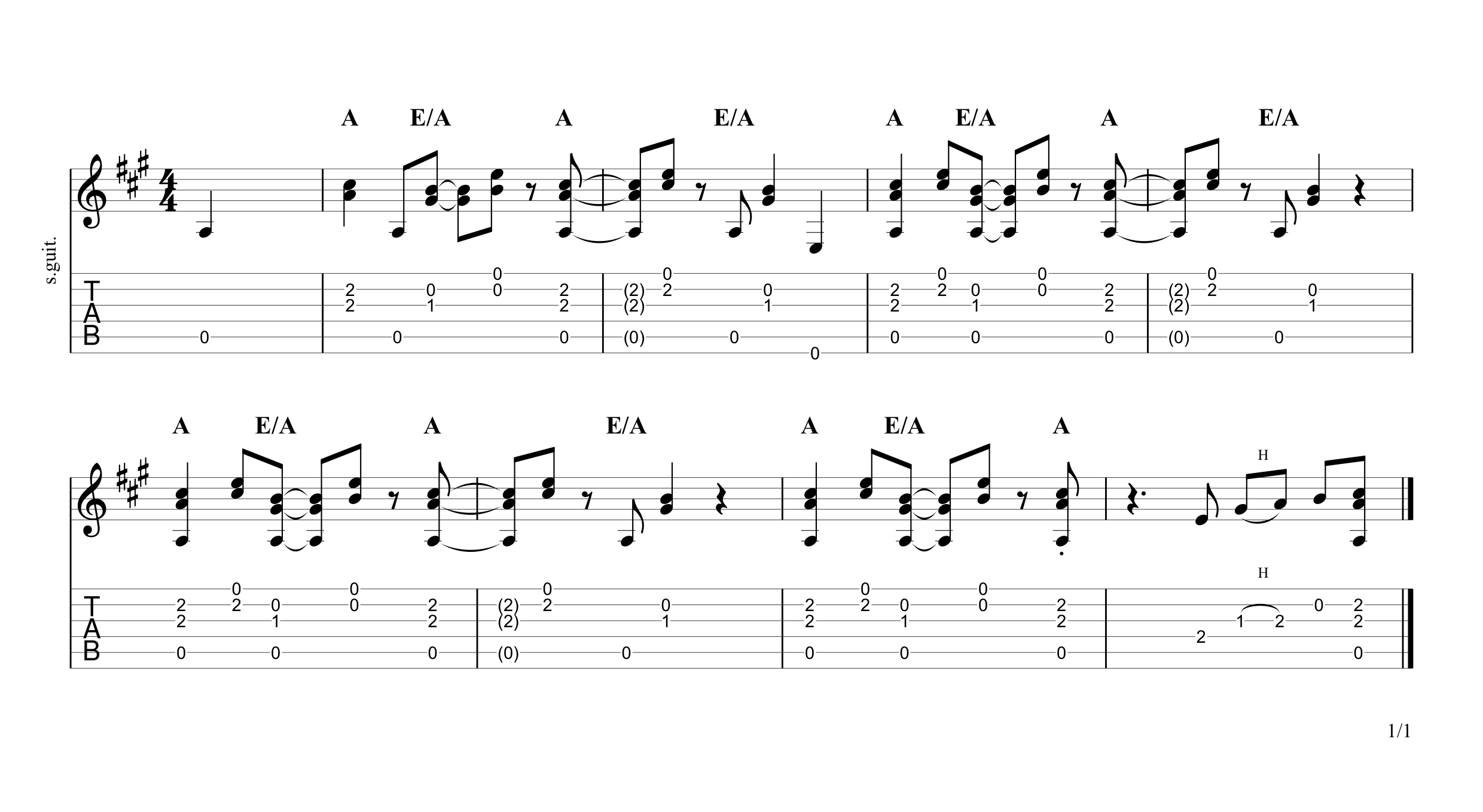 Sign Intro Guitar Tab