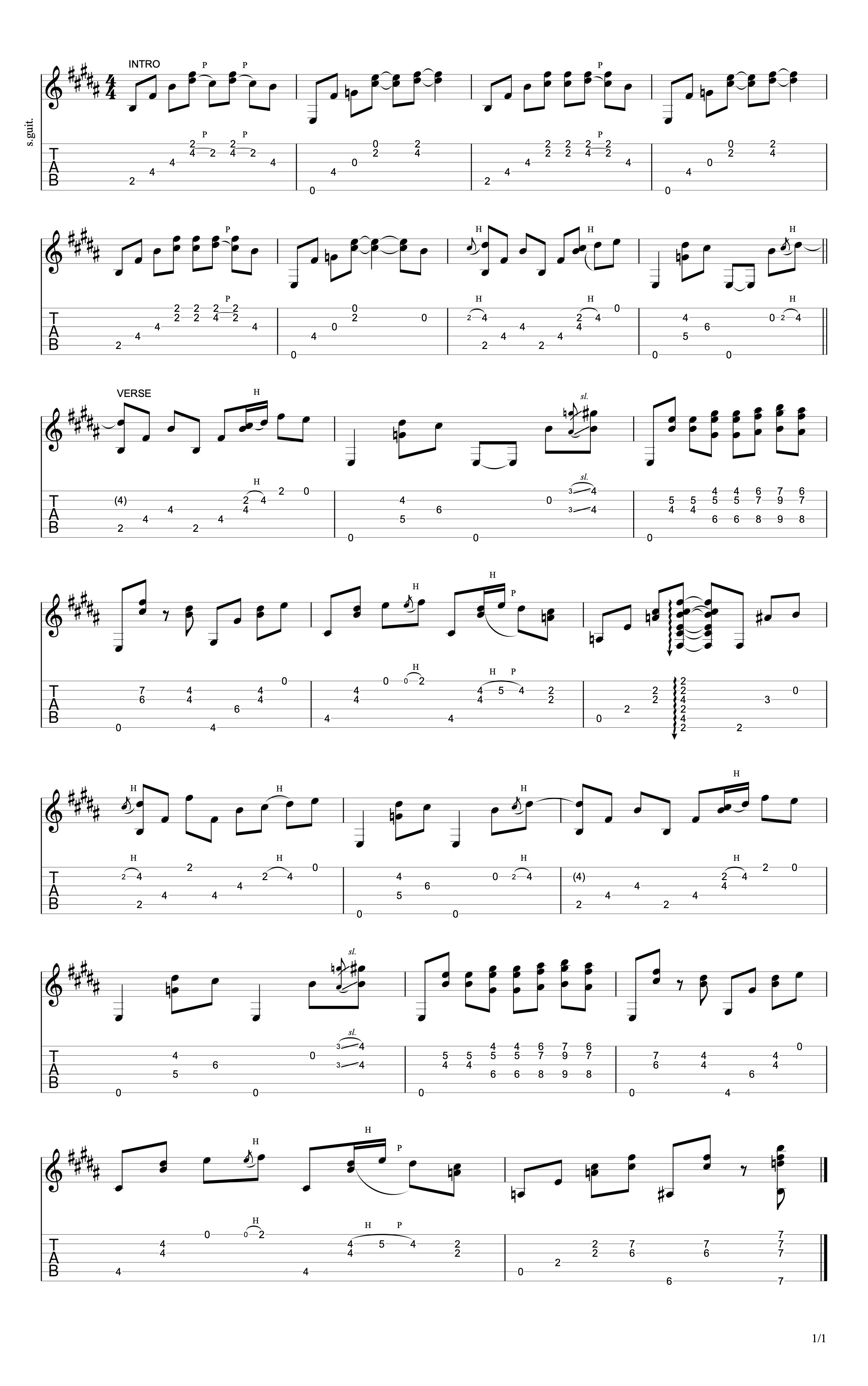 Ruby's Eyes Verse Guitar Tab